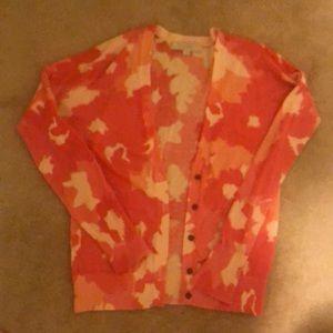 LOFT Pink Floral Cardigan Sweater